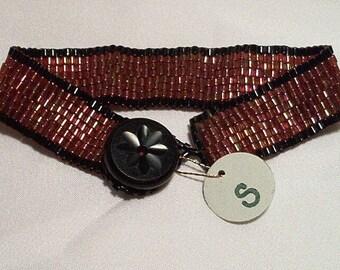 Rose, black beaded bracelet