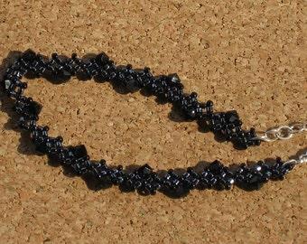 Black Crystal Zig-Zag Bracelet