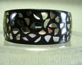 Vintage Ebony Mirrored Bangle reserved for Sarah