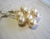 Wedding Jewelry, White Freshwater Pearl Bridal Earrings, Cream Freshwater Pearl Earrings, Weddings