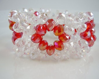 Vintage Bracelet,70's Vintage Bracelet,Crystal Stretch Bracelet,Aurora Borealis Crystals with Red Crystals Bracelet,Bracelets,Jewelry,Red