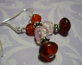 Amber Pink and Brown Earrings with Swarovski Crystals and Silver Spacers, Dangle Earrings,Pink and Brown Earrings,Beaded Drop Earrings