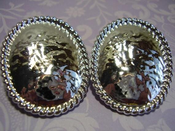 Vintage Hammered Texture Silver Roped Earrings, Silver Earrings