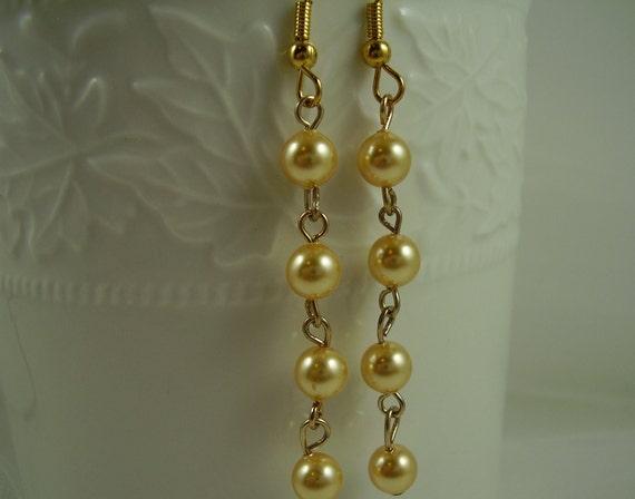 Light Golden Pearl Earrings,Glass Pearl Earrings,Gold Pearl Earrings, Dangle Pearl Earrings,Golden Pearl Drop Earrings
