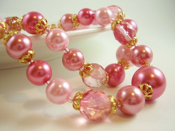 Vintage Pink Pearl and Crystal Romantic signed Japan Necklace, Weddings, Bridal