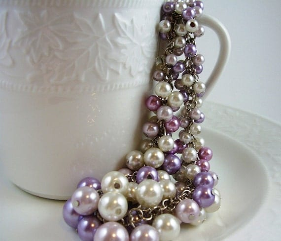 Vintage Lilac and Cream Pearl Necklace, Phlox, Wisteria, White