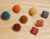 8 Vintage Colorful Metal Buttons