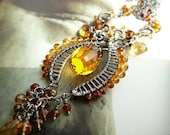Le Citron Royal wire wrapped tassel necklace - sterling silver and citrine gemstones