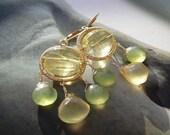 RESERVED - La Mousse au citron - gold brass, lemon quartz and chalcedony gemstone earrings