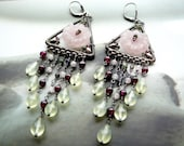 Spring Garden chandelier earrings - sterling silver and gemstones