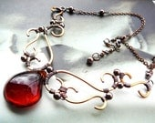 Chunky Filigree wire wrapped necklace  -  copper, bronze and amber glass