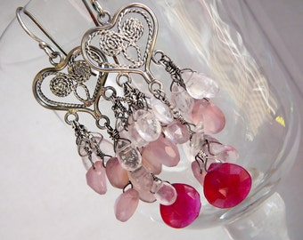 Cherry on the cake chandelier earrings - quartz, chalcedony and sterling silver