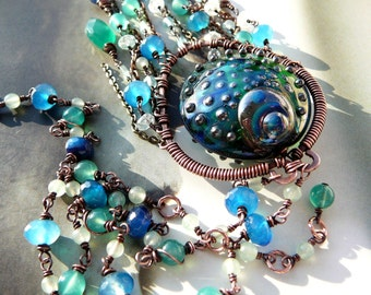 Peacock feather wire wrapped tassel necklace - copper, lampwork art bead and mixed gemstones