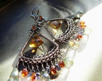 Woodland Walk wire wrapped chandelier earrings - sterling silver , whiskey & green mystic quartz, hessonite and iolite gemstones