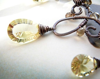 Lemon Sprinkles wire wrapped elven necklace - sterling silver, lemon quartz and beer quartz gemstones
