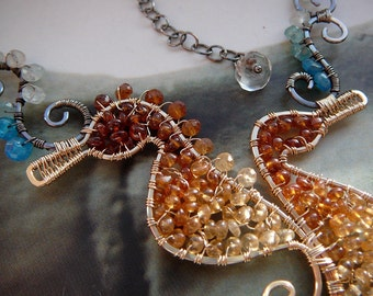 Mr and mrs Seahorse wire wrapped statement necklace - goldfill 14K, sterling silver and gemstones