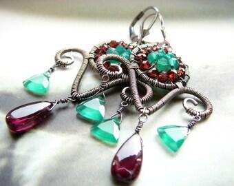 Contrast wire wrapped chandelier earrings - sterling silver, garnet and green onyx gemstones