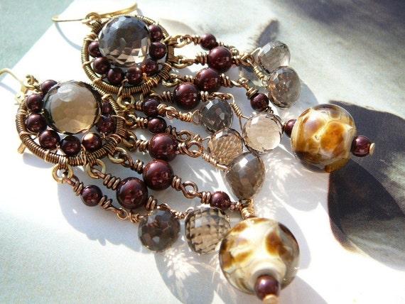 Reserved - Le Parfait au Chocolat chandelier earrings - bronze,  lampwork and smoky quartz gemstones