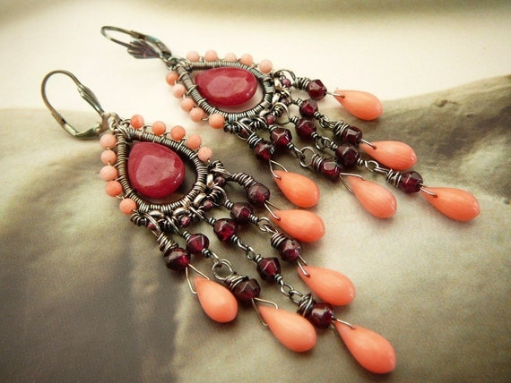 Shades of blush earrings - coral, gemstones and sterling silver