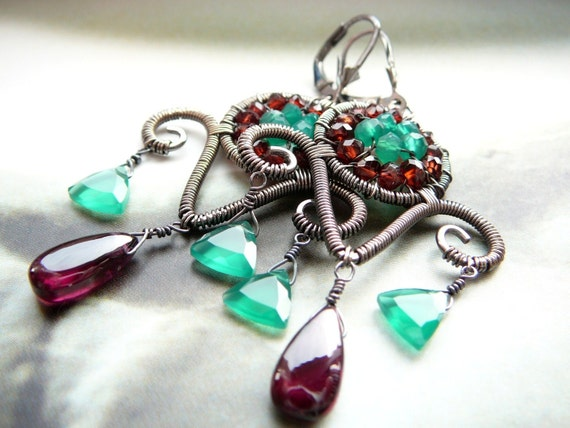 Contrast wire wrapped chandelier earrings - sterling silver, garnet and green onyx gemstones