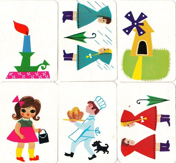 6 Vintage 1960s Children's/Craft French Cards