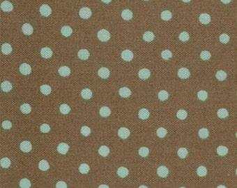 Dumb Dot Brown Blue Polka dots | Cotton Quilting fabric | Michael Miller C 2490