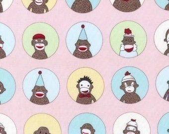 Sock Monkey fabric | Pink Circle of Friends fabric | Quilting Cotton fabric