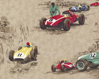 "Race Day Tan fabric 54057 11H   Race Cars Moda Home   54"" width"