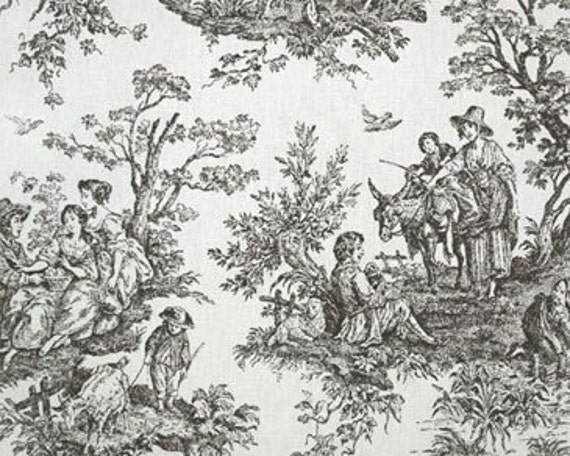 Colonial Black White Toile fabric