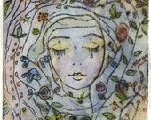 Sleep in the garden - handcolored drypoint - Limited edition of 7