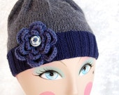Meredith Beanie - Hand knit with Flower Embellishment