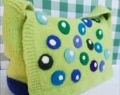 SALE: Verna Shoulder Bag, Hand Knit and Felted, Lightweight