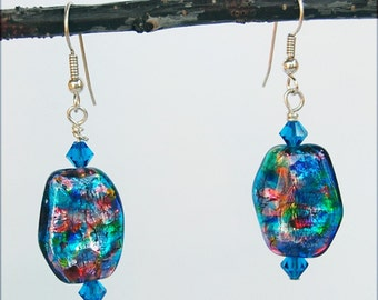 Maria Earrings, Vintage Blue Glass Beads with Crystals