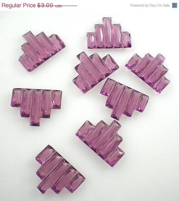 Deco Glass Stones Purple Vintage 15x11mm