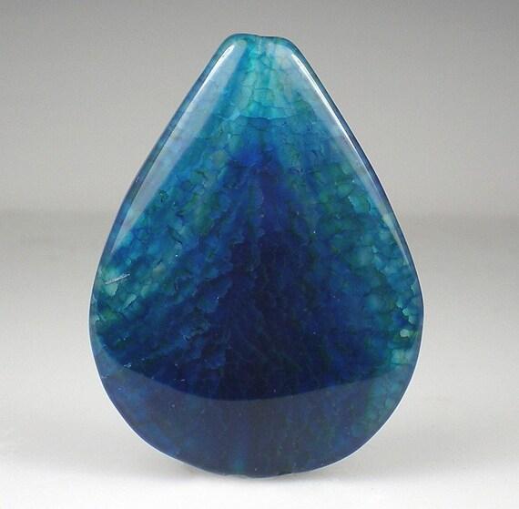Teal Blue Chalcedony Pendant Bead