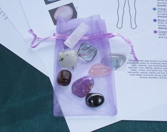 Chakra Alignment Kit - 7 Crystals / Minerals with Info  And Meditation Guide