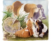 Basset Circle of life dog art Limited Edition Print plus Free matching Card