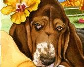 Basset Puppy double mat Print Paradise free matching card
