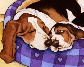 Basset Hound Joy Limited Edition Art Print free card