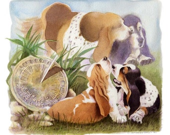Basset Circle of life dog art Limited Edition Print plus Free matching Card