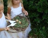 Earthy Natural Basket Vine Tray with Birds Nest Doves Eggs Moss Jasmine