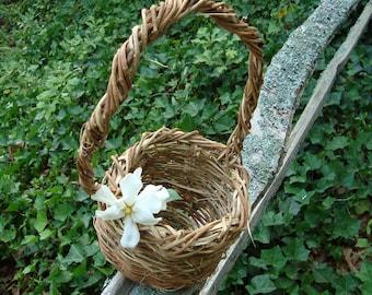 Eco Friendly, Rustic, Flower Girl Basket, Bucket, Outdoor Wedding, Wisteria, Easter Basket, Wild Vine, Dark Wicker