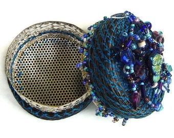 Horsehair  Treasure Box, Athena's Keep, Beaded Jewelry Box, Blue Silver