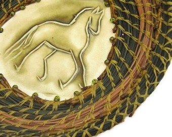 Green Coiled Pine Needle Basket,Springy ,  New Green Frolic, Housewarming Gift, Horse, Equestrian
