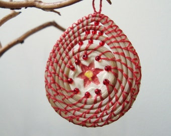 Coiled Horsehair, Christmas Ornament, Red Poinsettia, Basketry, Horse Hair