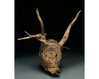 Art Notecard - pine needle sculpture, Coiled, Pine Needle Basketry, Driftwood, Deer, Hart, Natural World