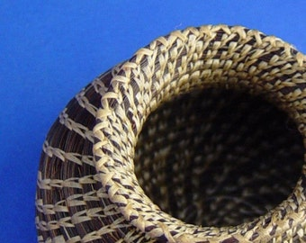 Large Horsehair Basket. Coiled Basket, Dark Mare, free shipping