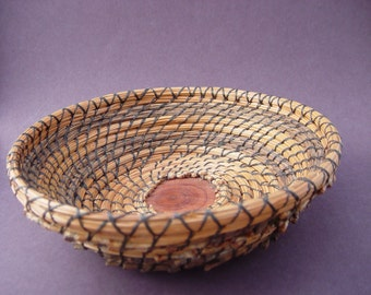 Basket, Bowl, Pine Needle and Walnut Stem with Wooden Base