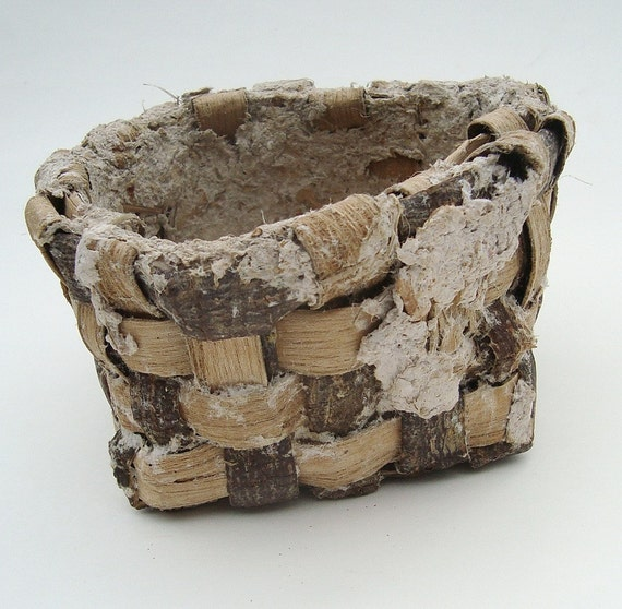 Tulip Poplar Bark Basket with Applied Gourd Paper