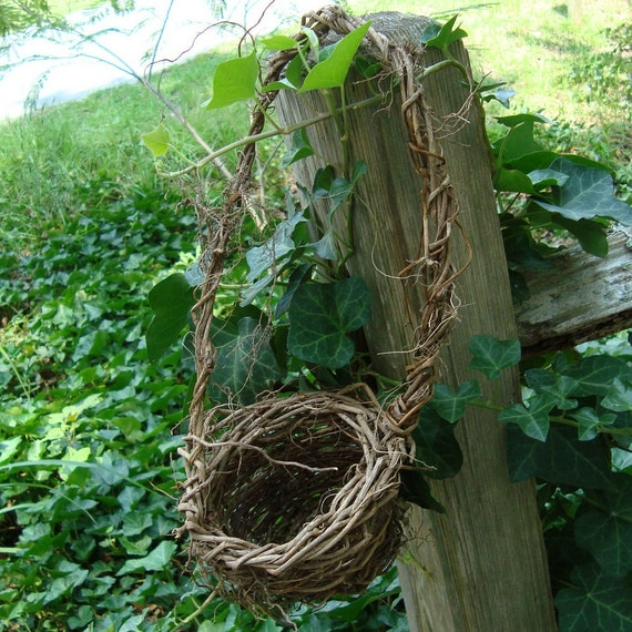 Rustic Flower Girl Basket with Wispy Roots for Your Eco-Conscious Wedding Virginia Creeper